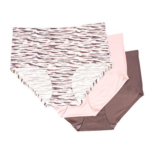 Kathy Ireland Women's 3 Pack Full Coverage Brief Underwear Elastic Waist Panties Light Ivory/Pink/Dark Grey 2X