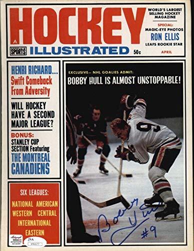 Bobby Hull Black Hawks Signed 1965 Hockey Illustrated Magazine - COA - JSA Certified - Autographed NHL Magazines