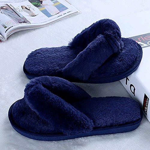 Femme En Peluche En Fourrure Slip-on Confort Pantoufle String Intérieur, Confortable Anti-dérapant, Douceur Éponge Bleu Foncé