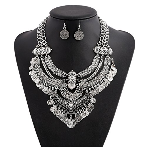 (Lanue Fashion Bib Bohemian Statement Coin Necklace and Earrings Punk Ethnic style Jewelry Set for Women (Style 2-silver))