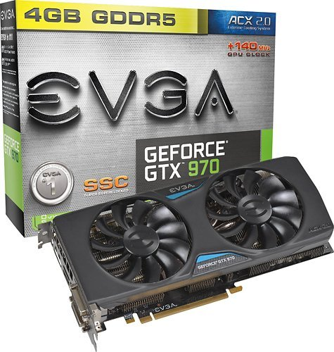 EVGA - GeForce GTX 970 4GB GDDR5 PCI Express 3.0 Graphics Card - Black - Evga Video Motherboard