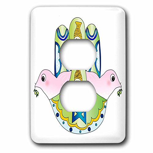 3dRose lsp_112922_6 Jewish Chamsa Hamsa Hand with Pink Peace Doves Blue Magen David Star & Fish Judaism Jew Judaica 2 Plug Outlet Cover David Rose Lighting