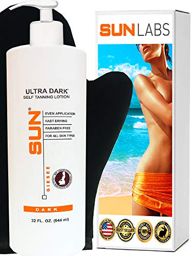 Sun Laboratories 32oz Ultra Dark (Dark) Self Tanning Lotion + Tanning Mitt - Dark Sunless Bronzer Fake Tanning Gel Lotion | Darkest Sunless Tan Cream (Packaging May Very)