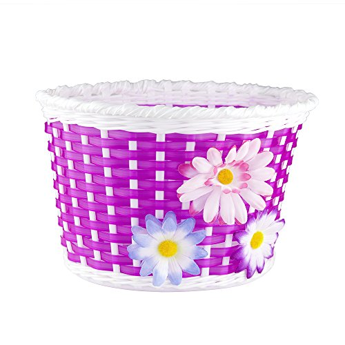 Basket Store Fr - Farway 1PC Kid's Bike Bicycle Basket Front Decoration with 3 Pretty Flowers (Rose)