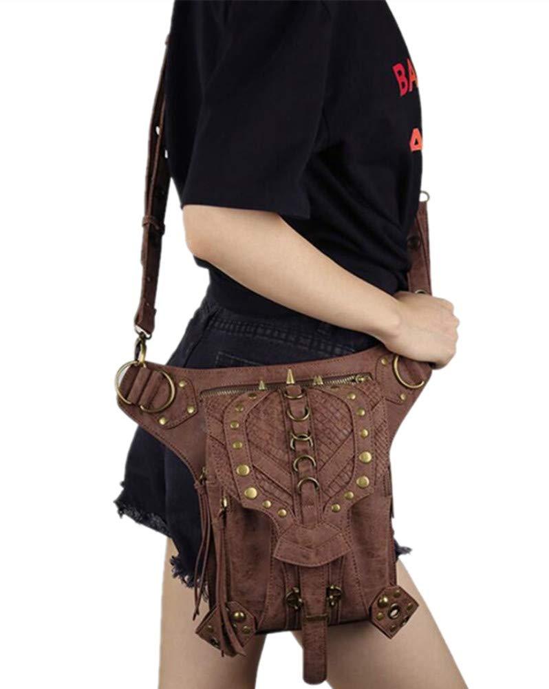 ZHANGCHENGFU Womens Fashion European and American Punk Snake Stripes Diagonal Personality Pockets