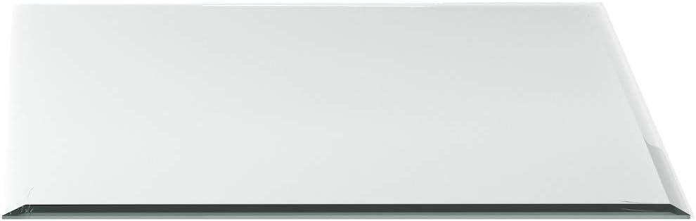 Funkenschutzplatte ESG 8mm Glasplatte Bodenplatte Kaminplatte Funkenschutz Ofenplatte Kaminglas mit Dichtlippe G25 Rundbogen 1100mm x 850mm x 8mm