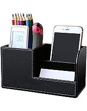 JK organiser da scrivania ufficio in simil pelle, portapenne Tidy biglietto da visita penna mobile phone Remote Control Storage box 20.3cm*9.3cm*11cm Nero