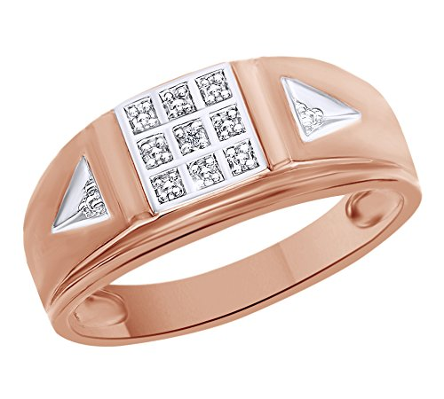 White Natural Diamond Accent Men's Wedding Ring in 10k Solid Rose Gold (0.01 Cttw) Ring Size - 11.5 by AFFY