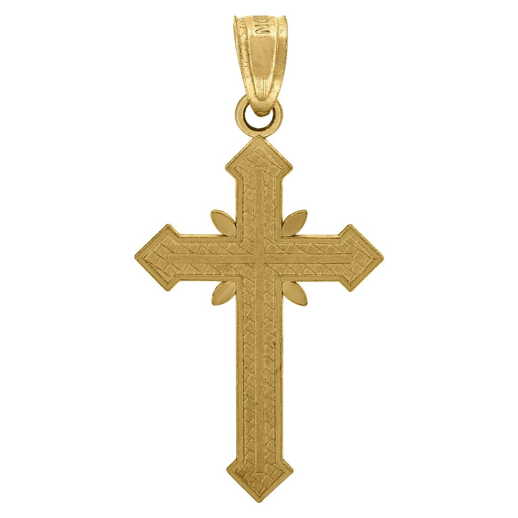 10k Gold Dc Unisex Cross Height 27.1mm X Width 13.7mm Religious Charm Pendant