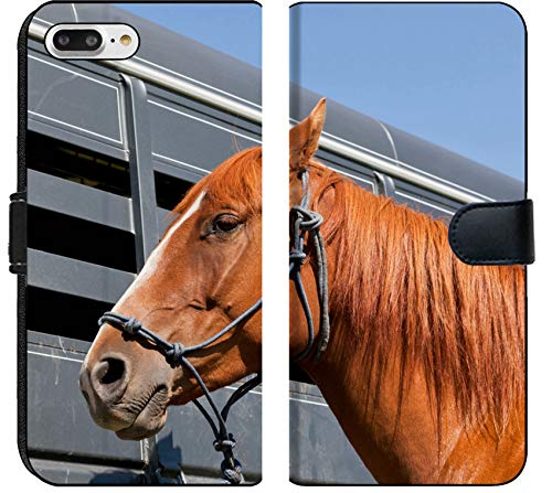 - Luxlady iPhone 7 Plus Flip Fabric Wallet Case IMAGE ID: 34247959 A close up of a reddish brown horse tied with a blue rope halter to a ho