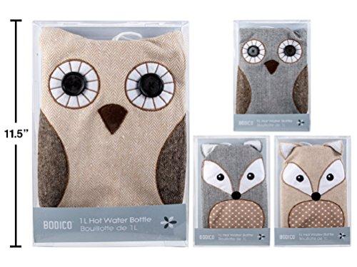 Assortment Bottle Bag - Bodico 1L Hot Water bottle Owl or Fox design (random assortment)