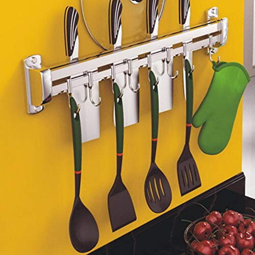 Knife Holder, Knife Bar Strong Stainless Steel Knife Strip Rack Tool Holder with 4 Hooks for Kitchen Utensils and Cooking Sets (Silver) by MZ4EVER
