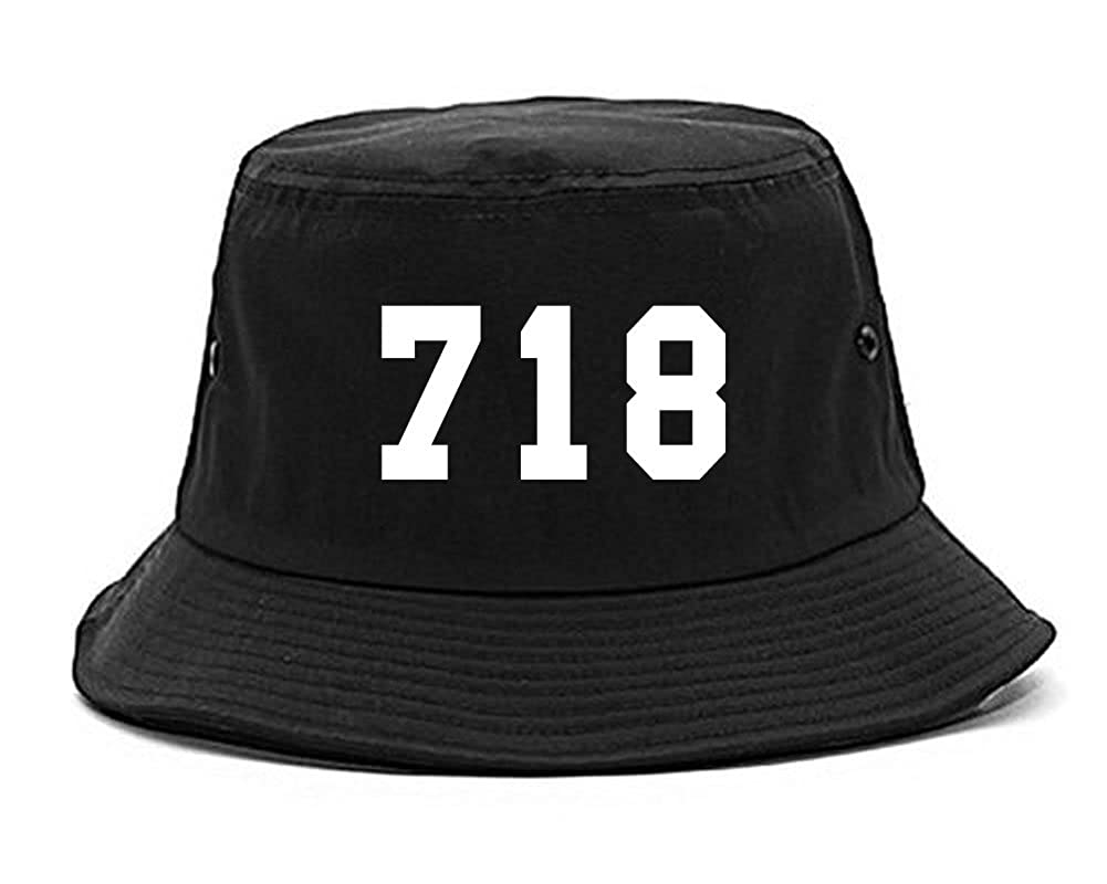 Amazon.com  Kings Of NY 718 Area Code Nyc New York Bronx Uptown Bucket Hat  Black  Clothing 8cfd1092bff