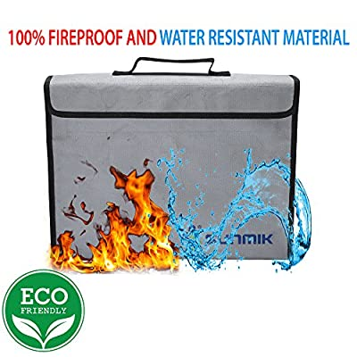 """SUNMIK Fireproof Bag, Fireproof Waterproof Document and Money Holder Bag 15"""" x 11"""" x 3"""" Non-Itchy Silicone Coated Fiberglass Pouch for Jewelry Passport and Media"""