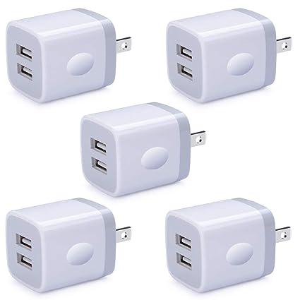 Amazon.com: HUHUTA - Juego de 5 enchufes de pared USB con ...