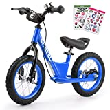 Enkeeo Balance Bike No Pedal with Adjustable Upholstered Seat, Soft Handlebars, Enhanced Tyres, Wide Footrests, DIY Stickers, Bell, Hand Brake, Carbon Steel Frame and Stand, Safe and Comfortable for Kids Toddlers ,14 inch, Blue