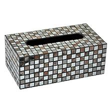 B&S FEEL Red Mirror Mosaic Tiled Design Facial Tissue Box Cover/Holder Decorative Napkin Holder Dispenser