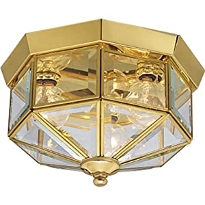 Progress Lighting P5788-10 Octagonal Close-To-Ceiling Fixture with Clear Bound Beveled Glass, Polished Brass