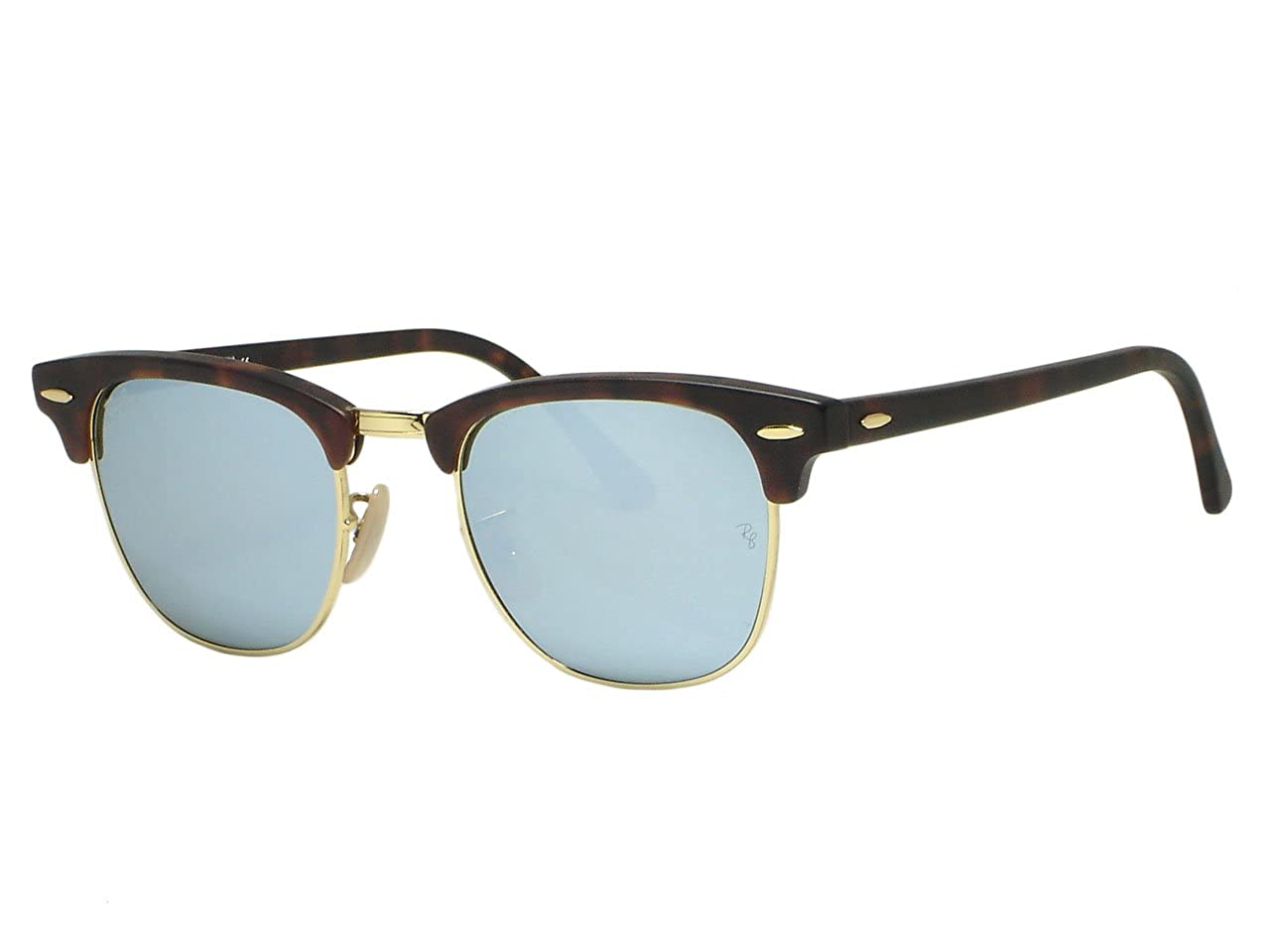 99d90ac48ec Amazon.com  Ray Ban RB3016 Clubmaster 1145 30 Sand Havana Silver Mirror  Sunglasses 51mm  Clothing