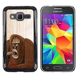 Caucho caso de Shell duro de la cubierta de accesorios de protección BY RAYDREAMMM - Samsung Galaxy Core Prime SM-G360 - Forest Art Drawing Monkey