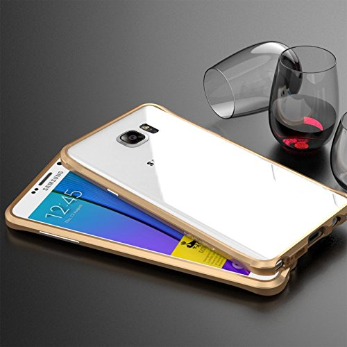 For Samsung Galaxy Note 5 Case, Lwang Aviation Aluminum Alloy Metal Bumper Frame Shell for Samsung Galaxy Note5 Cases (Bumper Gold)
