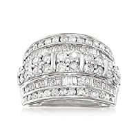 Ross-Simons 2.00 ct. t.w. Round and Baguette Diamond Multi-Row Ring in Sterling Silver