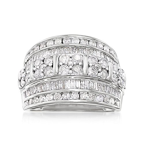- Ross-Simons 2.00 ct. t.w. Baguette and Round Diamond Multi-Row Ring in Sterling Silver