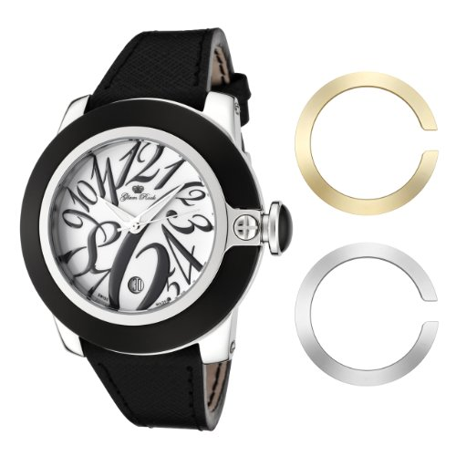 Glam Rock Women's GR32083 SoBe White Dial Black Leather Watch
