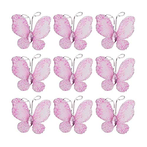 PIXNOR 50pcs Butterflies Set, Wire Glitter Butterfly for Home and Wedding Decoration (Pink)