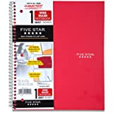 Mead Five Star Wirebound 1-Subject Notebook, 100 Sheets, Wide Rule-Red