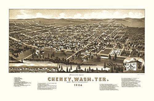 (Panoramic Print - Cheney Washington - Wellge 1884 - 23 x 34.85 - Matte Canvas)