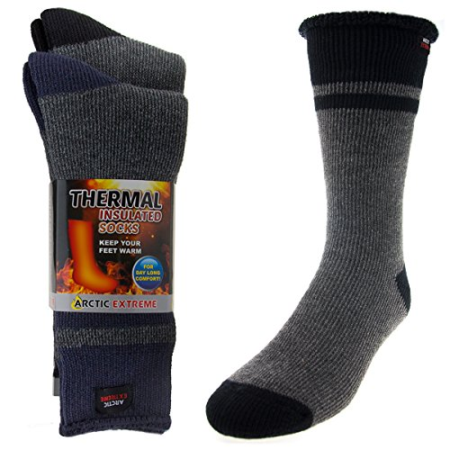 2 Pairs of Thick Heat Trapping Insulated Heated Boot Thermal Socks Pack Warm Winter Crew For Cold Weather,Gray/Blue & Gray/Black,M: Mens/Boys shoe 4-8; Womens 6-10