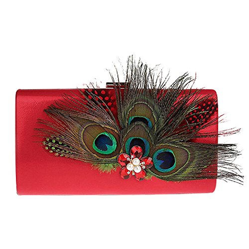 Zakia Satin Peacock Feather Hand Bag Clutch Evening Party Bag with Crystal Pearl Dec (Red) -