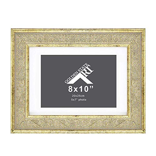 Golden State Art, 8x10 Ornate Frame for 5x7 Photo with White Mat, Table-Top Easel Stand, Real Glass (Light Gold Pewter) (1)