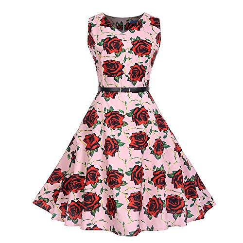 DEATU Women Evening Party Dress Ladies Vintage Elegance Printing Sleeveless V Neck Prom Swing Dress with Belt(Pink B,L)