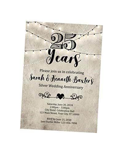 Silver Wedding Invitations Amazon: Amazon.com: 25th Anniversary Invitation, String Of Lights