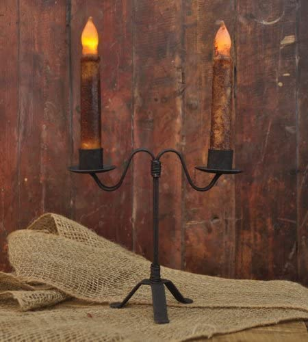 Primitve Colonial Vintage Wrought Iron Black Taper Candle Stick Holder NEW!!