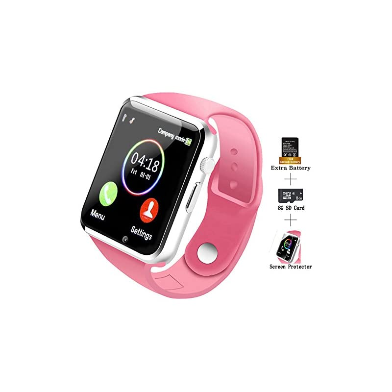 COSROLE Bluetooth Smart Watch, A1 Touch Screen Smart Wrist Watch with 8GB SD Card & Two Batteries & Screen Protector for Samsung Xiaomi Huawei Sony HTC LG Android Smartphones - Pink