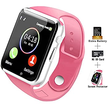 ... A1 Touch Screen Smart Wrist Watch with 8GB SD Card & Two Batteries & Screen Protector for Samsung Xiaomi Huawei Sony HTC LG Android Smartphones - Pink
