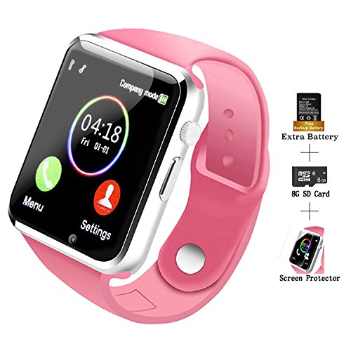 (COSROLE Bluetooth Smart Watch, A1 Touch Screen Smart Wrist Watch with 8GB SD Card & Two Batteries & Screen Protector for Samsung Xiaomi Huawei Sony HTC LG Android Smartphones - Pink)
