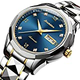 Swiss Automatic Watches for Men Blue Dial,Tourbillon Mechanical Watch,Mens Diamond Watch,Stainless Steel Japanese Mechanical Watches with Date,Mechanical Automatic Sapphire Watch