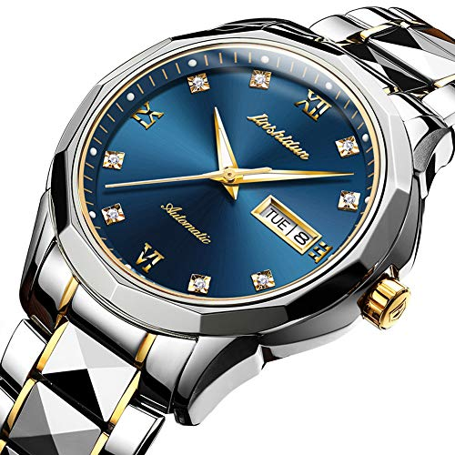 (Swiss Automatic Watches for Men Blue Dial,Tourbillon Mechanical Watch,Mens Diamond Watch,Stainless Steel Japanese Mechanical Watches with Date,Mechanical Automatic Sapphire)