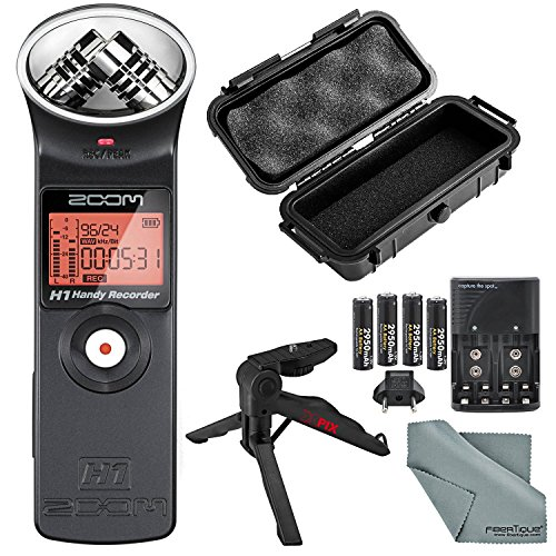 Zoom H1 Portable Digital Audio Recorder Deluxe Bundle with Protective Case+ XPIX Tripod + Batteries + Fibertique Cloth by Photo Savings