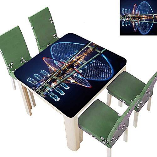 (Printsonne Indoor/Outdoor Spillproof Tablecloth Expo Bridge in Daejeon,South Korea. Restaurant Party 23 x 23 Inch (Elastic Edge))