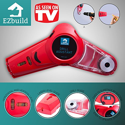 Multifunction Laser Level - Cordless Multipurpose Drill Dust Collector Tool with Laser Level Picture Hanging Tool for Men l Hands-Free Measuring, Alignment and Drilling Support | DIY Projects Drill Buddy