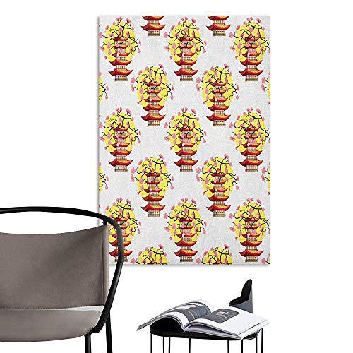 (Brandosn Wall Mural Wallpaper Stickers Ancient China Chinese Pagoda Illustration in Lively Colors with Sakura Cherry and Sunset Multicolor Landscape Scenery Painting W8 x H10)