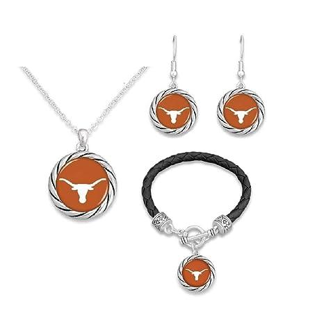 Bracelet, Necklace, Earrings FTH Texas Longhorns Logo Jewelry Combo