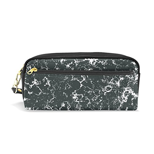 Black Marble Leather Pen Pencil Case Bag Students Zipper Sta