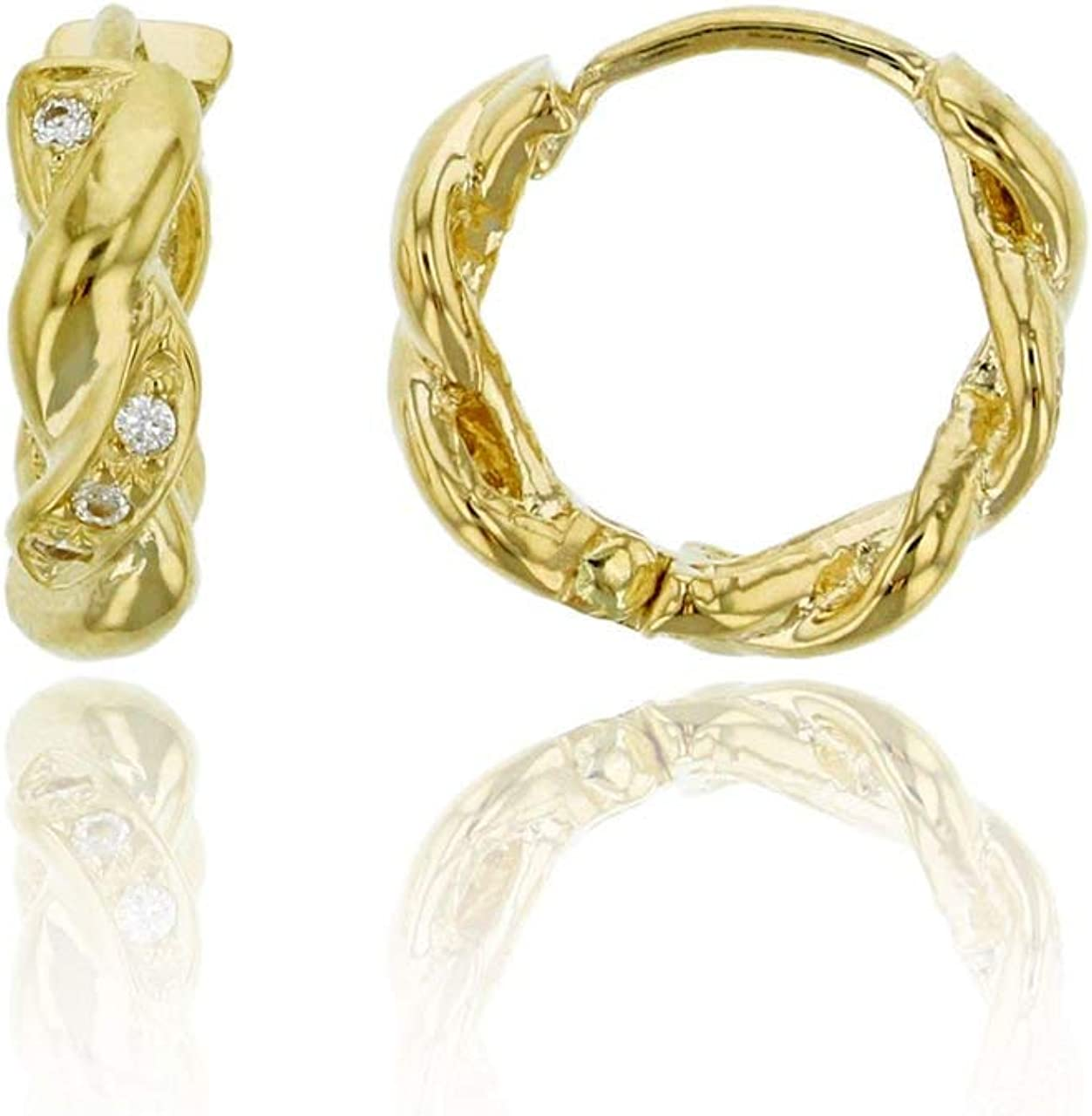 14K Yellow Solid Gold Huggie With AAA Cubic Zirconia Huggie Earrings   Different Styles: Twisted, Infinity, Baguette and Princess Cut Huggie Earrings   Solid Gold Huggie Earrings for Women and Girls