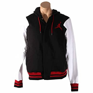 bef12b907344a2 Nike Mens Jordan Varsity Hooded Sweatshirt Black White Gym Red 619439-019  Size Large  Amazon.ca  Clothing   Accessories